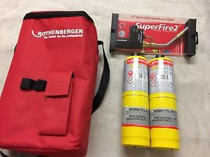 ROTHENBERGER HOTBAG 35644 SUPER FIRE 2 TORCH , TOOLBAG AND 2 X MAPP GAS 19828