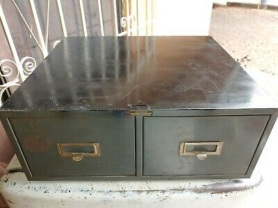 Vintage Asco Steelmaster Industrial Two 2 Drawer Metal File Card Cabinet