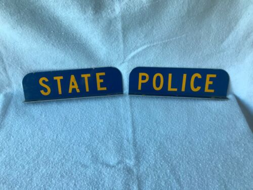 VINTAGE CONNECTICUT STATE POLICE LIGHT BAR PLACARDS