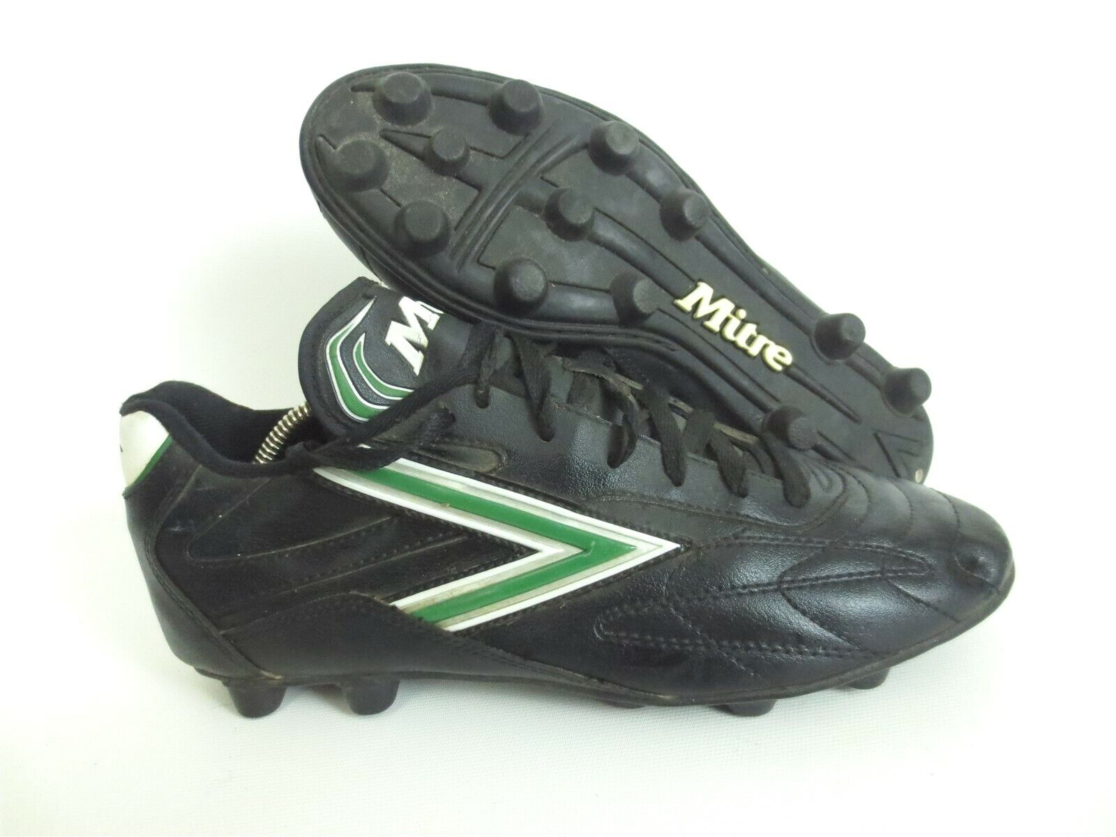 VTG MITRE 1980s Leather Soccer Shoes Cleats Black/Green Size