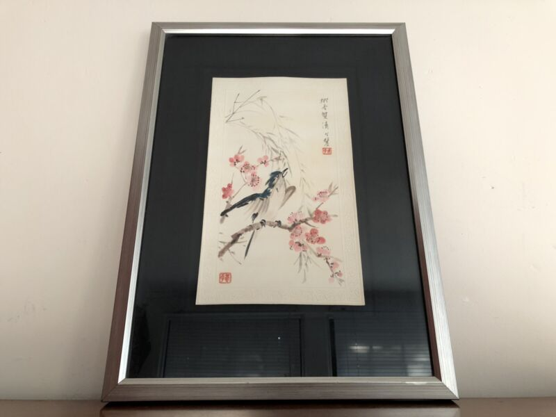 Framed JAPANESE WOODBLOCK PRINT BIRD AND Cherry Blossom FLOWER Beautiful 1761