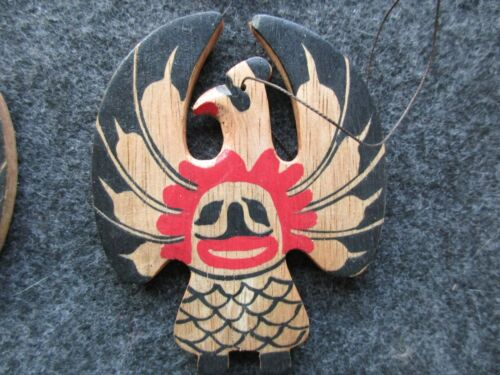 CLASSIC NORTHWEST COAST DESIGN, 1 HAND CARVED EAGLE WOODEN ORNAMENT,    WY-03962