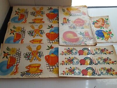 Vintage Duro Decorative Transfers 1950's RETRO KITCHEN Style Plates, Bowls