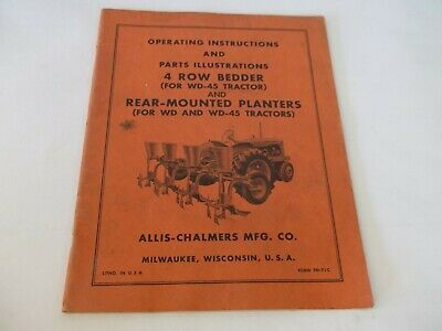 Allis-chalmers 4 Row Bedder Rear Mounted Planters Operation Parts Manual