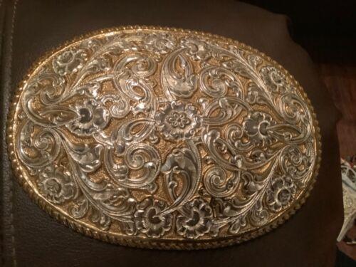 Crumrine NEW Belt Buckle Gold Silver Tone Cowboy Western Large Heavy Vintage
