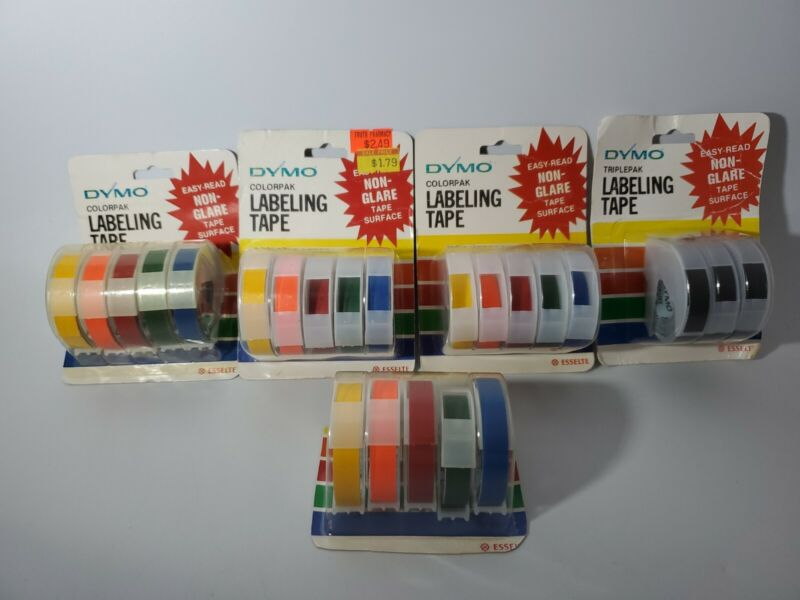 LOT OF 5 Vintage 1983 Dymo Labeling Tape NEW