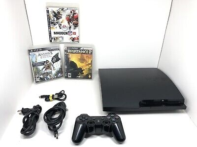 Sony PlayStation 3 PS3 Slim 320GB CECH-3001B W/ Controller, Games, Cables Works
