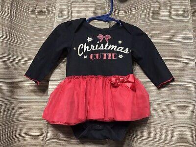 "Girls ""Christmas Cutie"" Black And Red Bodysuit W Tutu Sz 12 - Black And Red Tutu"