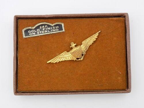 Vintage Pre-WWII US Navy Sterling Naval Aviator Miniature Wings Wolf-Brown