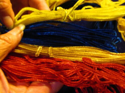 Baby fine Chenille Garland Red Blue Gold Yellow Large 50+yd Lot Vtg NOS SBj