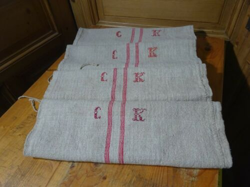 Antique European Feed Sack GRAIN SACK CK Monogram # 10423