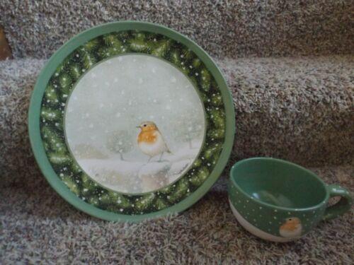 Marjolein Bastin Hallmark Natures Sketchbook Christmas Snow Bird Plate & Mug EUC