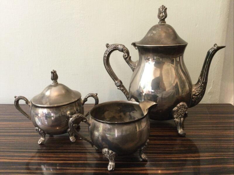 Vintage Silver Plated Teaset Teapot Sugar Bowl Milk Jug