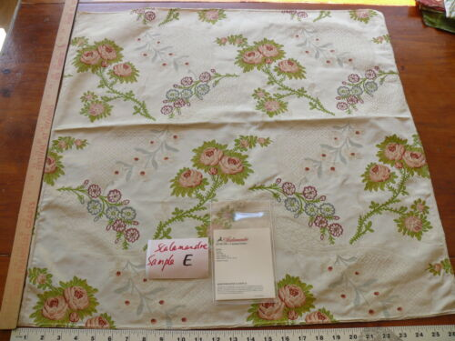 """SCALAMANDRE """"ROSE"""" SILK LAMPAS LARGE SQUARE HIGH END FABRIC MSRP$500+/Y E48"""