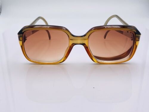 Vintage Zeiss 2026 Portrait Brown Green Square Sunglasses Germany FRAMES ONLY