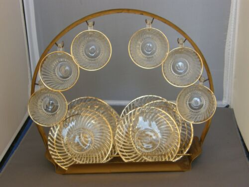 6 Clear w Gold Demitasse Cup/Saucer Sets & Display Rack-Diana-Federal Glass 1937