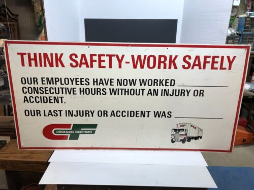 VINTAGE ORIGINAL CONSOLIDATED FREIGHTWAYHS TRUCKING - THINK SAFETY - ALUMINUM SI