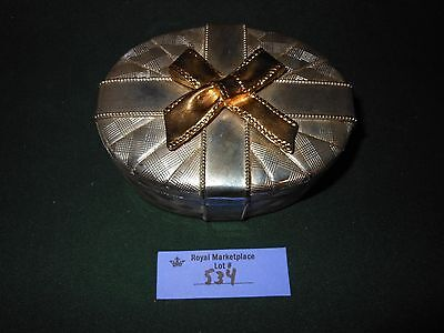 Vintage Heavy Beautiful SILVER PLATED Oval Trinket GIFT BOX Bow ON TOP