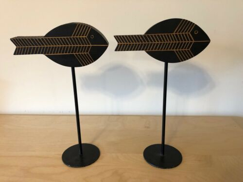 Asian Inspired Black Wood Fish Candlesticks Candle Holders