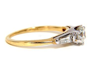 GIA CERTIFIED .81CT ROUND CUT DIAMOND RING BAGUETTES 14KT H/SI+ 1