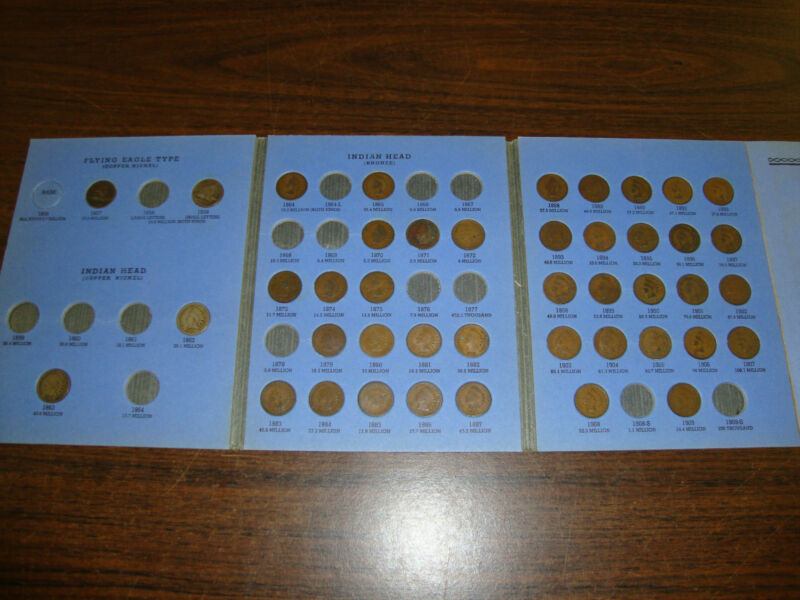 Indian Head Cent Coin Book---Including 2 Flying Eagles---Coins From 1856-1909