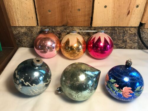 Lot of 6 Antique Vintage Glass Ball Ornaments