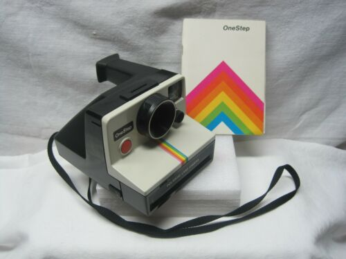 POLAROID ONE STEP RAINBOW STRIPE CAMERA WITH INSTRUCTIONS