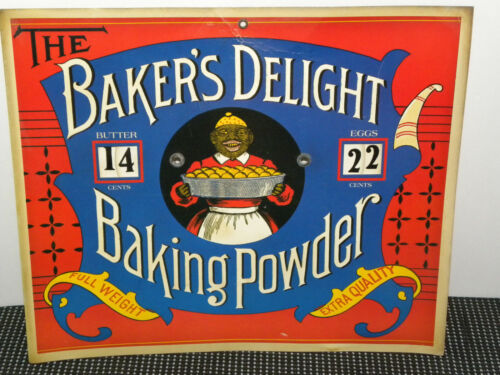 Vintage BAKERS DELIGHT BAKING POWDER SIGN BUTTER&EGGS PRICES NICE GRAPHICS