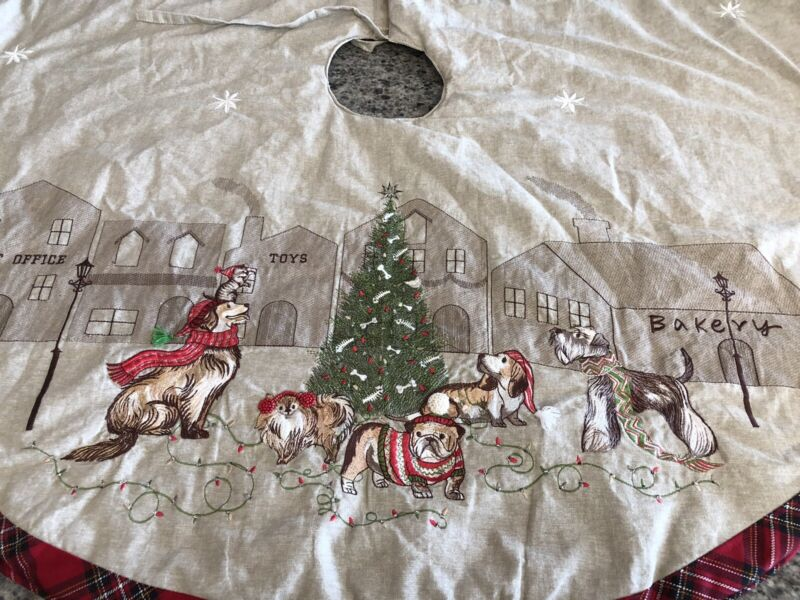 """Christmas Tree Skirt Pier One Imports DOGS IN TOWN BROWN W/RED PLAID TRIM 60"""""""