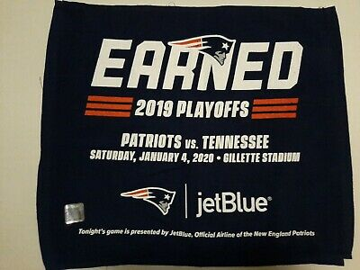 """NEW ENGLAND PATRIOTS vs TENNESSEE TITANS 1/4/2020 2019 PLAYOFFS TOWEL """"EARNED"""""""