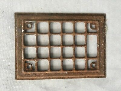 1 Antique Stamped Steel Wall Heat Grill Ceiling Vent  5 x 7 Vtg Fireplace 58-19J