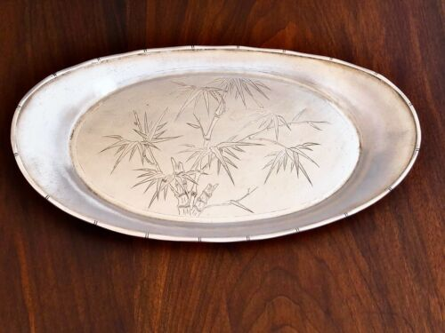 - SUPERB TACKHING CHINESE EXPORT SILVER BREAD TRAY SHARK SKIN FINISH HONG KONG