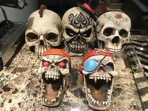 5 ZEMENO RESIN SKELETON SKULL HEADS FOR SALE NEW NO BOX DECOR