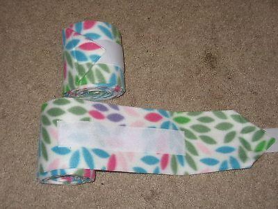 NEW set of 2 white with rainbow petals horse polo wraps (horse/pony leg wraps)