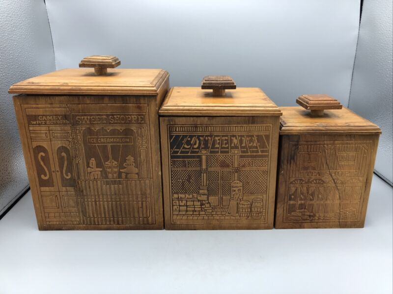 3 Vtg Covered Wood Kitchen Canister Set (Sweet Shoppe, Coffee Mill & Tea Shop)
