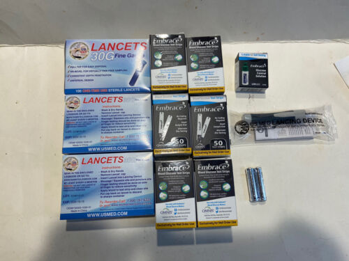 Embrace 300 Test Strips 300 30G Lancets Solution Control Lan