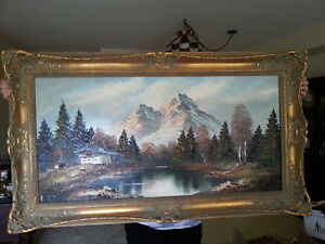 Gold framed oil painting