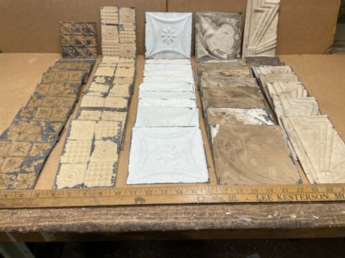 """50 pc Lot of 5.5"""" x 5.5"""" Antique Ceiling Tin Vintage Reclaimed Salvage Art Craft"""