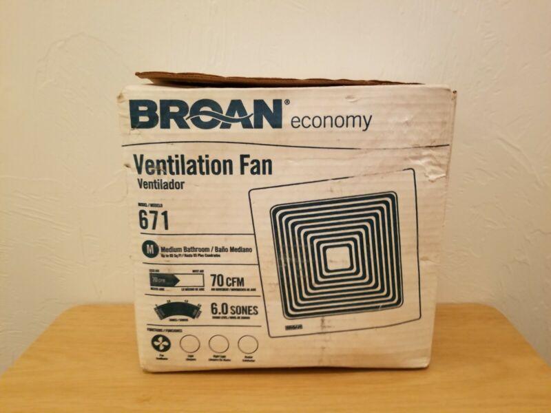 Broan Model 671 Bathroom/Ventilation Fan, 70 CFM, 60 Sones New Open Box
