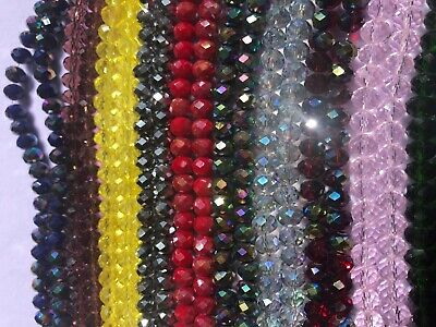 Briollete Rondelle Crystal Glass beads 8mm, 10 Colors Approx 65 beads per string 10 Crystal Glass