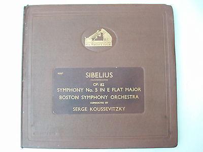 Sibelius Symphony No.5 Boston Serge Koussevitzky HMV DB 3168-3171 4 Records  NM