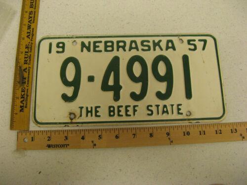 1957 57 NEBRASKA NE LICENSE PLATE  #9-4991 BUFFALO COUNTY