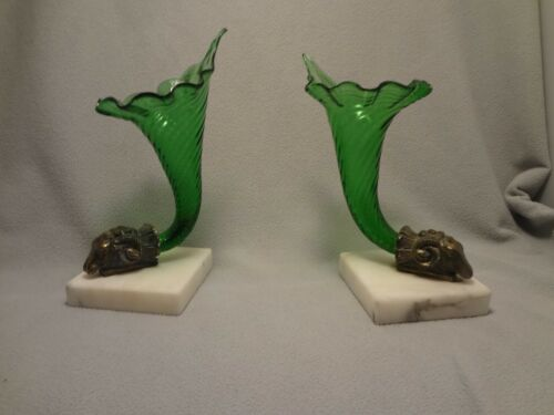 Vintage Green Cornucopia Vases with Rams-head Mounts on Marble Bases