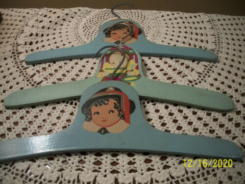 THREE Vintage CHILDS Painted WOOD Clothing HANGERS Little Girl