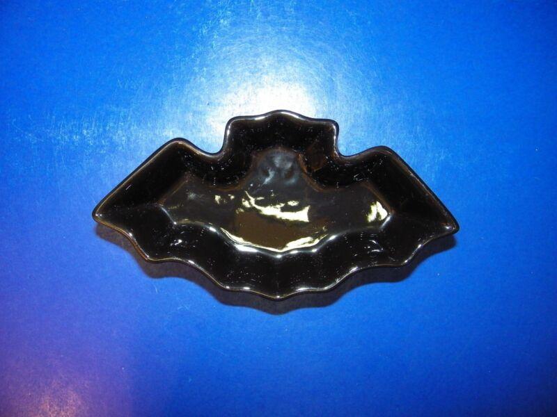 Fall Halloween Black Bat Pottery Dish Bowl Candy Decoraton Candleholder