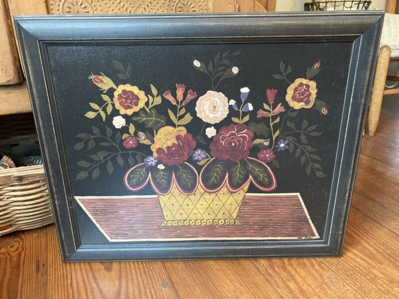 "Folk Art Primitive Oil Painting Print on Canvas in Black Wood Frame 23.5"" x 19.2"