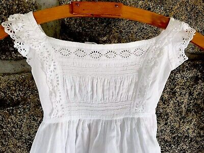 Antique Hand Embroidery White Cotton Broderie Anglaise Child Baby Doll Dress