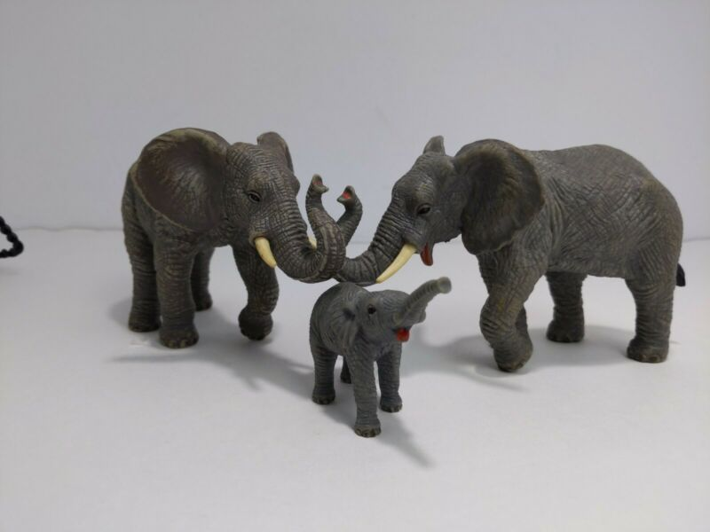 Vtg AAA Elephant Family 2 Elephants & 1 Baby Figures PVC Rubber Animal Wildlife