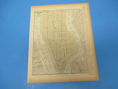 1893 Popular Atlas Map 1 page, Map of Southern New York City, Suitable to Frame