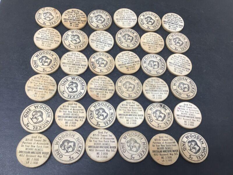 Lot Of 36 Vtg MORREY NEWELL DRESSLAR WAESCHE BUICK Dealer Wooden Nickel $25